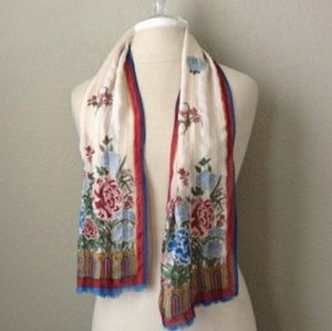 Vintage 70s Asian floral print silk scarf